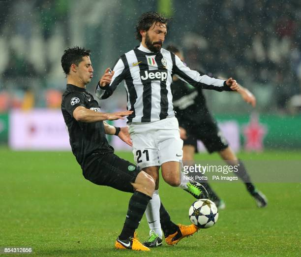 Juventus's Andrea Pirlo and Celtic's Beram Kayal battle for the ball
