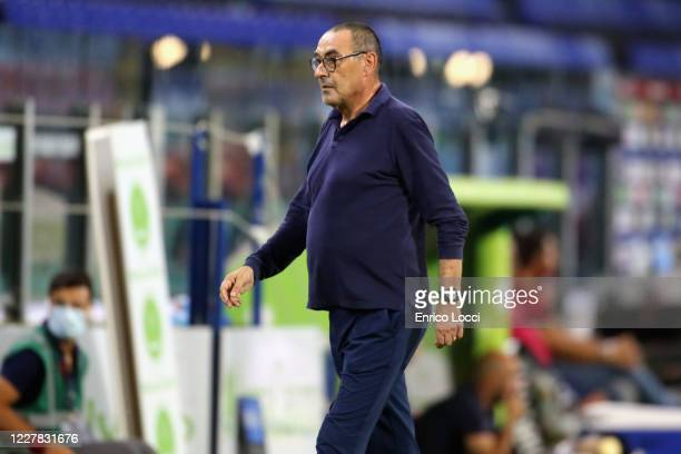 Juventus's coach Maurizio Sarri reacts during the Serie A match between Cagliari Calcio and Juventus at Sardegna Arena on July 29, 2020 in Cagliari,...