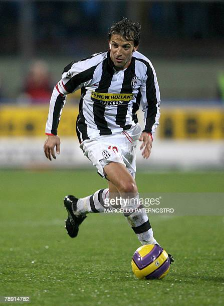 Juventus's forward and captain Alessandro Del Piero controls the ball after he scored a goal against Catania during their Serie A football match at...