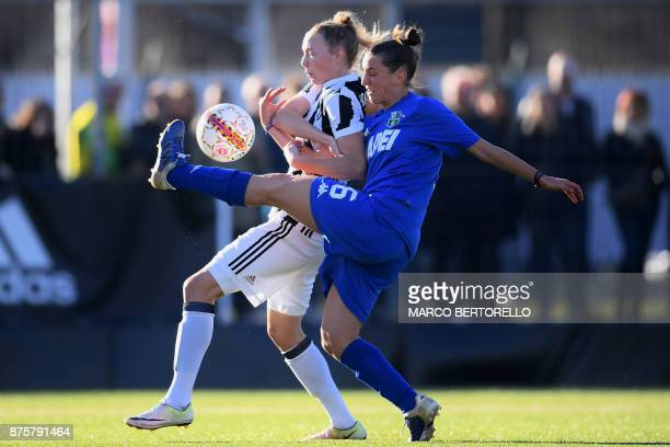 Juventus's midfielder Sanni Maija Franssi fights for the ball with Sassuolo's defender Zoi Gloria Giatras during the Women's Italian football match...