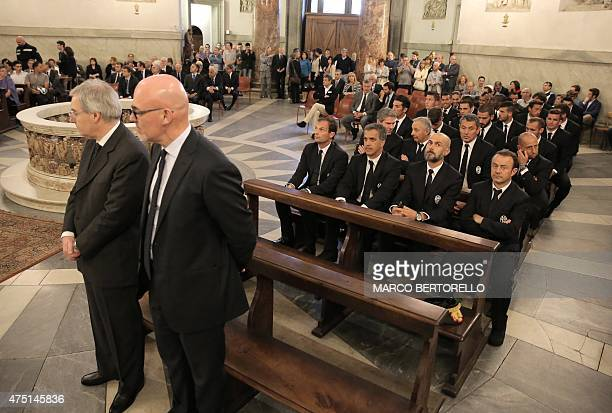 Juventus's players attend a mass at Gran Madre di Dio church in Turin on May 29 to mark the 30th anniversary of the Heysel Stadium disaster. The...