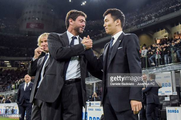 Juventus's President Andrea Agnelli greets Internazionale's President Steven Zhang before the Serie A match between FC Internazionale and Juventus at...