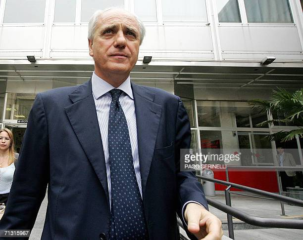 Juventus's vicepresident Roberto Bettega leaves the Molinette Hospital in Turin 28 June 2006 where Juventus' Gianluca Pessotto was hospitalized in...