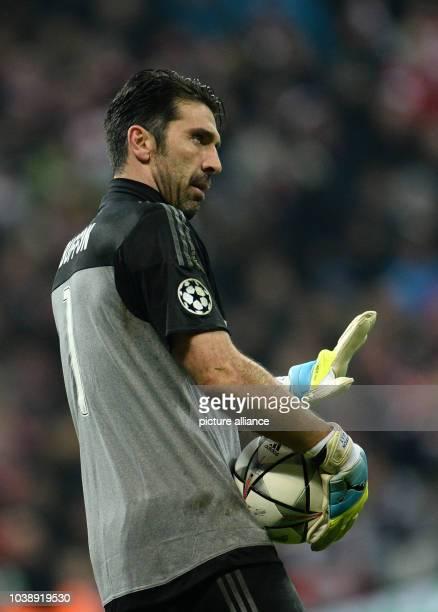 Juve's goalkeeper Gianluigi Buffon during the Champions League Last Sixteen Knockout Round Second Leg soccer match between Bayern Munich and Juventus...