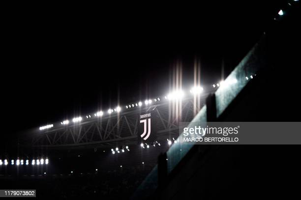 Juvetus' soccer team logo is pictured during the Italian Serie A football match between Juventus and Genoa on October 30 2019 at the 'Allianz...