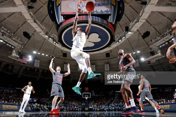 Juwan Durham of the Notre Dame Fighting Irish dunks the ball in the first half of the game against the Louisville Cardinals at Purcell Pavilion on...