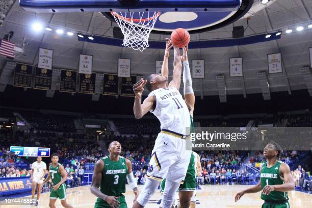 Juwan Durham of the Notre Dame Fighting Irish rebounds the ball in the game against the Jacksonville Dolphins in the second half at Purcell Pavilion...