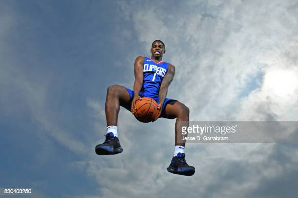 Juwan Evans of the LA Clippers poses for a portrait during the 2017 NBA rookie photo shoot on August 11 2017 at the Madison Square Garden Training...