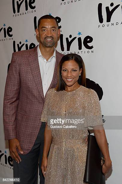 Juwan Howard and Jenine Howard arrives at Irie Foundation #InspIRIE Dinner Gala on June 22 2016 in Miami Beach Florida Photo by Gustavo...