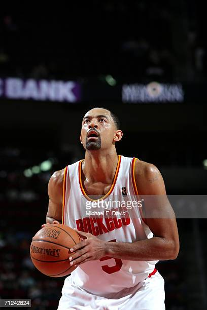 Juwan Howard of the Houston Rockets shoots a free throw against the Memphis Grizzlies during the game on April 15 2006 at the Toyota Center in...