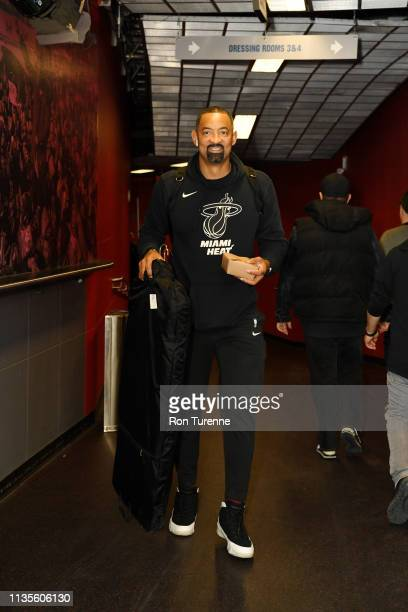 Juwan Howard of the Miami Heat arrives for the game against the Toronto Raptors on April 7 2019 at the Scotiabank Arena in Toronto Ontario Canada...