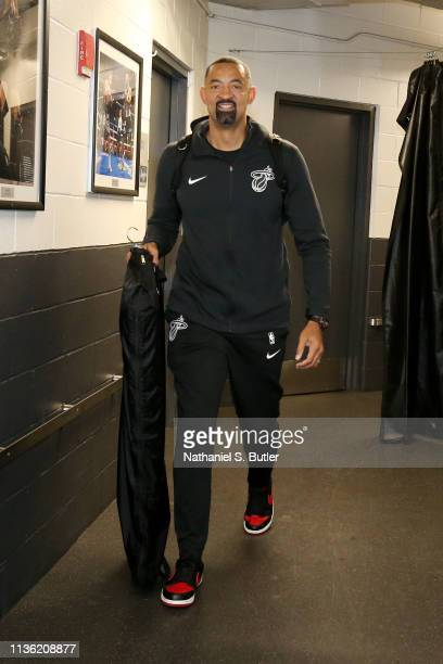 Juwan Howard of the Miami Heat arrives to the arena prior to the game against the Brooklyn Nets on April 10 2019 at Barclays Center in Brooklyn New...