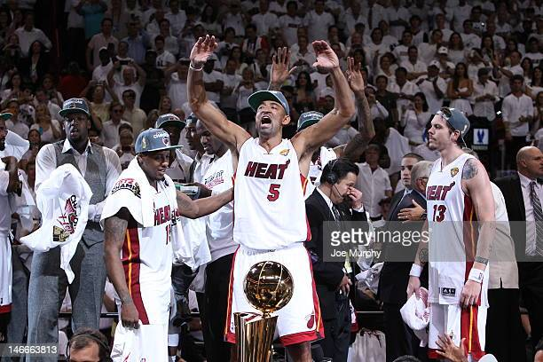 Juwan Howard of the Miami Heat celebrates with the fans after the Miami Heat defeated the Oklahoma City Thunder in Game Five of the 2012 NBA Finals...