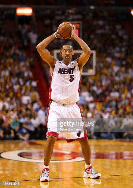Juwan Howard of the Miami Heat passes during a game against the Orlando Magic at American Airlines Arena on April 17 2013 in Miami Florida NOTE TO...