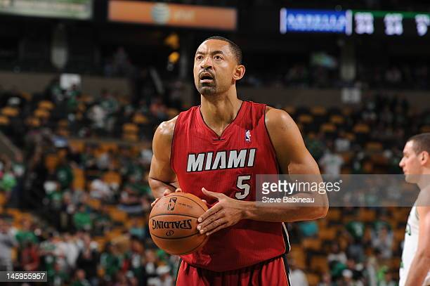 Juwan Howard of the Miami Heat shoots a foul shot against the Boston Celtics in Game Six of the Eastern Conference Finals during the 2012 NBA...