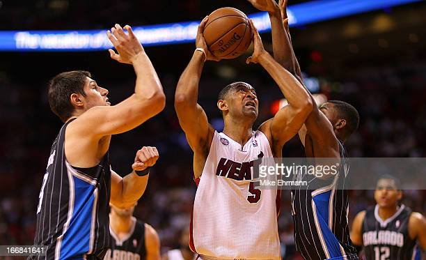 Juwan Howard of the Miami Heat shoots during a game against the Orlando Magic at American Airlines Arena on April 17 2013 in Miami Florida NOTE TO...