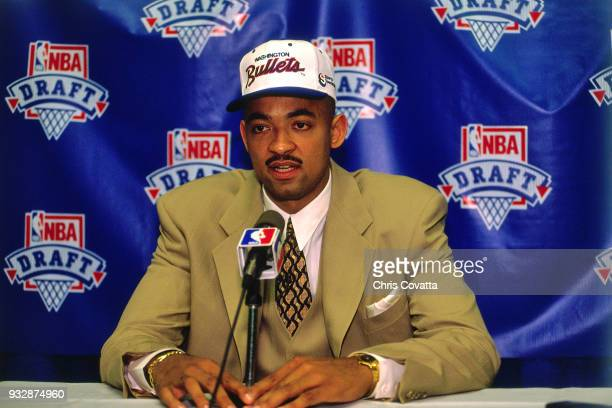 Juwan Howard of the Washington Bullets speaks with the media during the 1994 NBA Draft on June 29 1994 at Market Square Arena in Indianapolis Indiana...