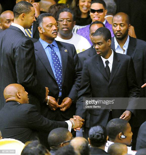 Juwan Howard Rev Jesse Jackson and Chris Rock at a memorial service for Bernie Mac at the The House of Hope Church on August 16, 2008 in Chicago,...