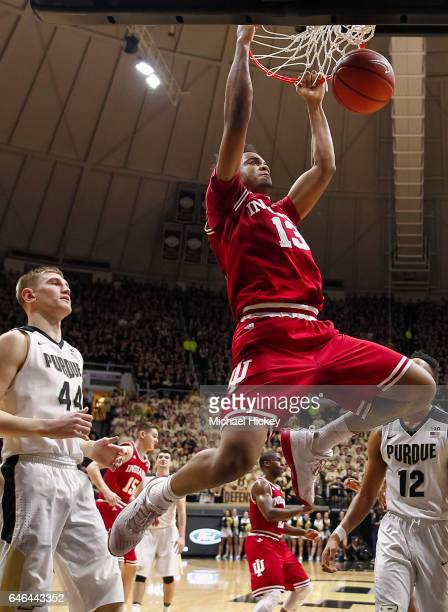 Juwan Morgan of the Indiana Hoosiers dunks the ball against the Purdue Boilermakers at Mackey Arena on February 28 2017 in West Lafayette Indiana