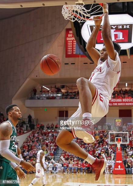 Juwan Morgan of the Indiana Hoosiers dunks the ball against the Eastern Michigan Eagles at Assembly Hall on November 24 2017 in Bloomington Indiana