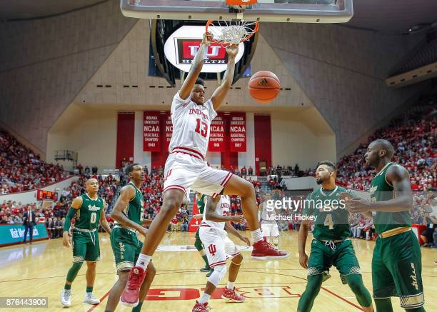 Juwan Morgan of the Indiana Hoosiers dunks the ball against the South Florida Bulls at Assembly Hall on November 19 2017 in Bloomington Indiana