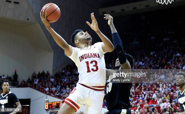 Juwan Morgan of the Indiana Hoosiers shoots the ball against the Purdue Boilermakers at Assembly Hall on February 19 2019 in Bloomington Indiana