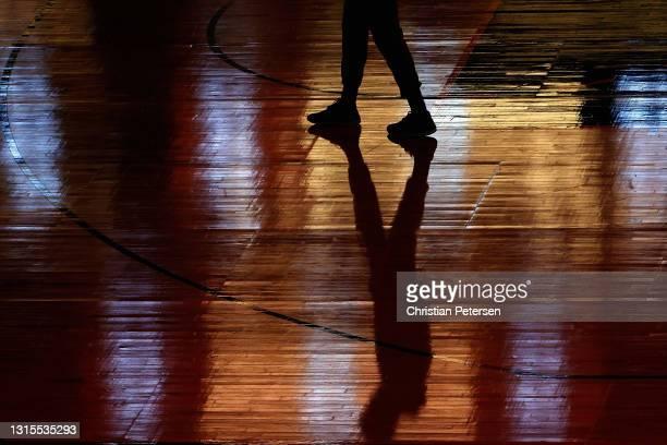Juwan Morgan of the Utah Jazz walks on the court before the NBA game against the Phoenix Suns at Phoenix Suns Arena on April 30, 2021 in Phoenix,...