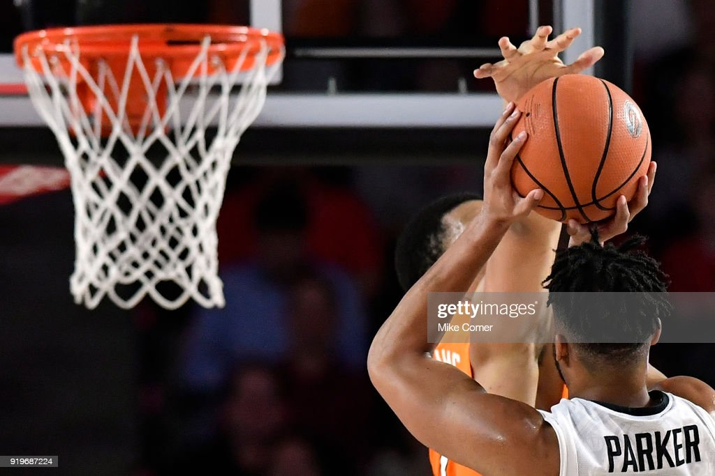 Juwan Parker #3 of the Georgia Bulldogs pulls up against Grant Williams #2 of the Tennessee Volunteers, who blocks his shot during the basketball game at Stegeman Coliseum on February 17, 2018 in Athens, Georgia.