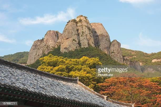 juwangsan und koreanische dach - größere sehenswürdigkeit stock-fotos und bilder