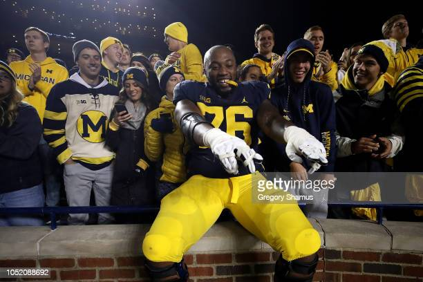 Juwann BushellBeatty of the Michigan Wolverines celebrates a 3813 win over the Wisconsin Badgers on October 13 2018 at Michigan Stadium in Ann Arbor...