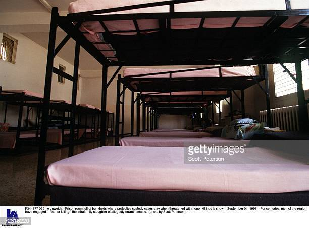 Juweidah Prison room full of bunkbeds where protective custody cases stay when threatened with honor killings is shown September 01 1998 For...