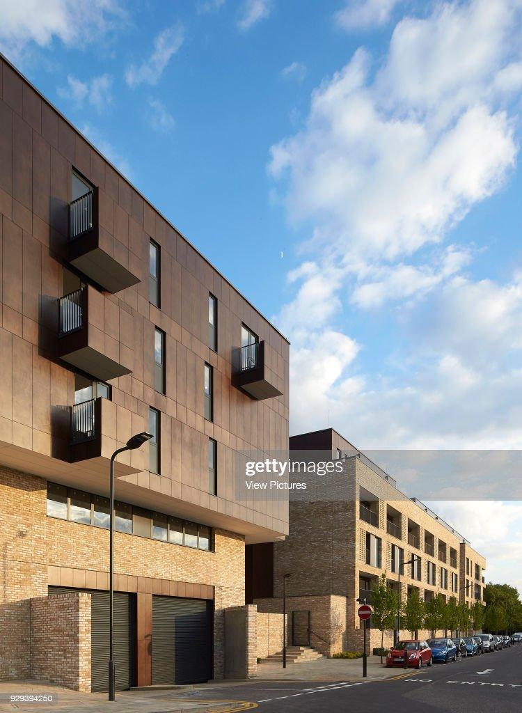 Juxtaposition of exterior facades  Alpine Place, Brent, London