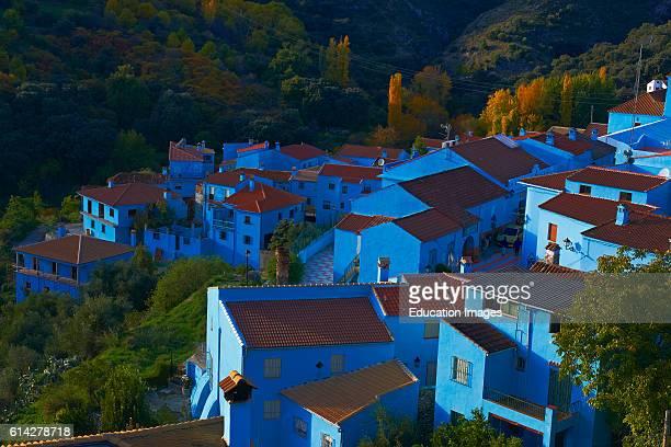 Juzcar, Genal Valley, Genal river valley, Serrana de Ronda. Smurfs Village, M_laga province, Andalusia. Spain.