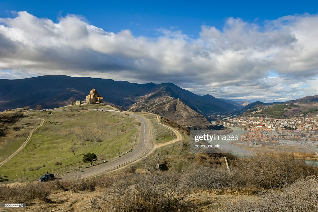 Jvari church and Mtskheta, Georgia : Stock Photo
