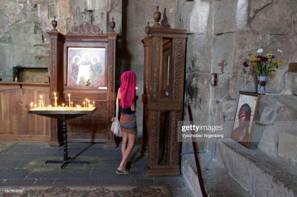 Jvari Church interior, Mtskheta : Stock Photo