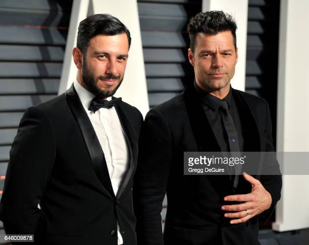 Jwan Yosef and Ricky Martin arrive at the 2017 Vanity Fair Oscar Party Hosted By Graydon Carter at Wallis Annenberg Center for the Performing Arts on...