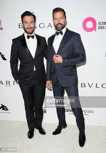 Jwan Yosef and Ricky Martin attend Elton John AIDS Foundation 26th Annual Academy Awards Viewing Party at The City of West Hollywood Park on March 4...
