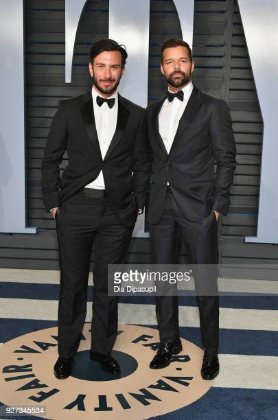 Jwan Yosef and Ricky Martin attend the 2018 Vanity Fair Oscar Party hosted by Radhika Jones at Wallis Annenberg Center for the Performing Arts on...