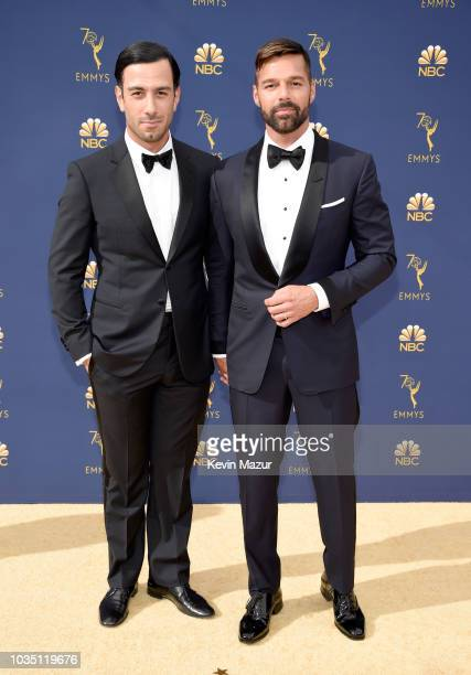 Jwan Yosef and Ricky Martin attend the 70th Emmy Awards at Microsoft Theater on September 17 2018 in Los Angeles California