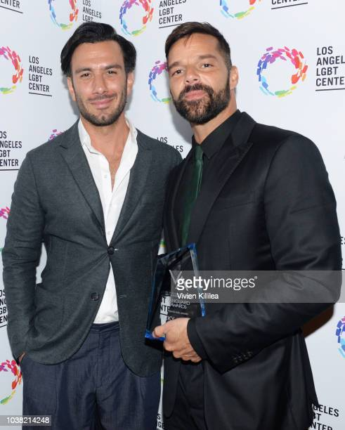Jwan Yosef and Ricky Martin Vanguard Award recipient attend the Los Angeles LGBT Center's 49th Anniversary Gala Vanguard Awards at The Beverly Hilton...