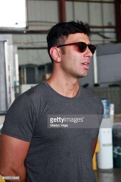 Jwan Yosef arrives on a FedEx plane to bring aid for victims of Hurricane Maria at Rafael Hernandez Airport on October 9 2017 in Aguadilla Puerto Rico
