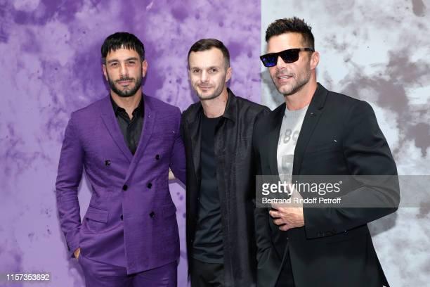 Jwan Yosef, Artistic Director Kris Van Assche and Ricky Martin pose after the Berluti Menswear Spring Summer 2020 show as part of Paris Fashion Week...