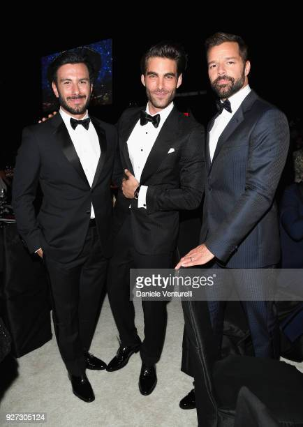 Jwan Yosef Jon Kortajarena and Ricky Martin attend Elton John AIDS Foundation 26th Annual Academy Awards Viewing Party at The City of West Hollywood...
