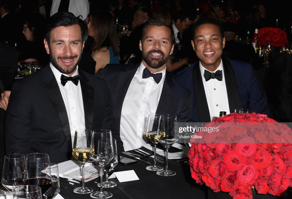 Jwan Yosef, Ricky Martin and Don Lemon attend the 26th annual Elton John AIDS Foundation Academy Awards Viewing Party with cocktails by Clase Azul Tequila at The City of West Hollywood Park on March 4, 2018 in West Hollywood, California.