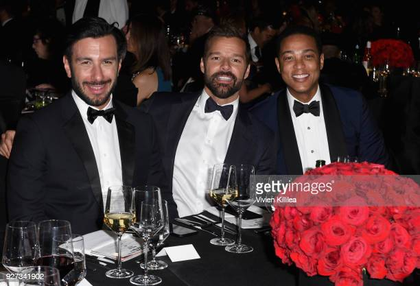 Jwan Yosef Ricky Martin and Don Lemon attend the 26th annual Elton John AIDS Foundation Academy Awards Viewing Party with cocktails by Clase Azul...