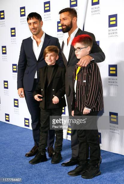 Jwan Yosef Ricky Martin Matteo Martin and Valentino Martin attend the 23rd Annual Human Rights Campaign National Dinner at the Washington Convention...