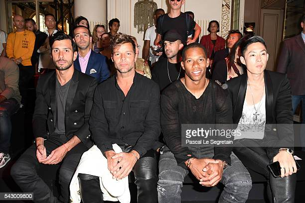 Jwan Yosef Ricky MartinVictor Cruz and Vaness Wu attend the Balmain Menswear Spring/Summer 2017 show as part of Paris Fashion Week on June 25 2016 in...