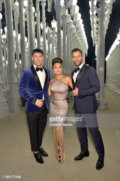 Jwan Yosef Salma Hayek and Ricky Martin wearing Gucci attend the 2019 LACMA Art Film Gala Presented By Gucci at LACMA on November 02 2019 in Los...