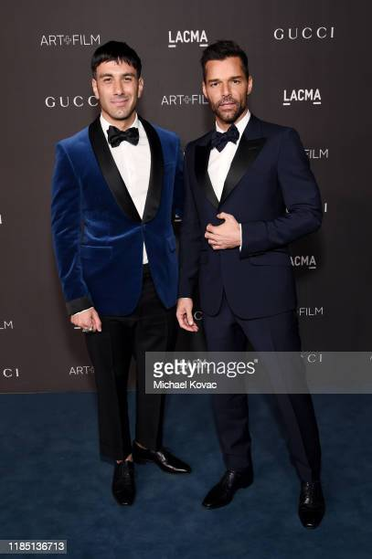 Jwan Yosef wearing Gucci and Ricky Martin wearing Gucci attend the 2019 LACMA Art Film Gala Presented By Gucci at LACMA on November 02 2019 in Los...