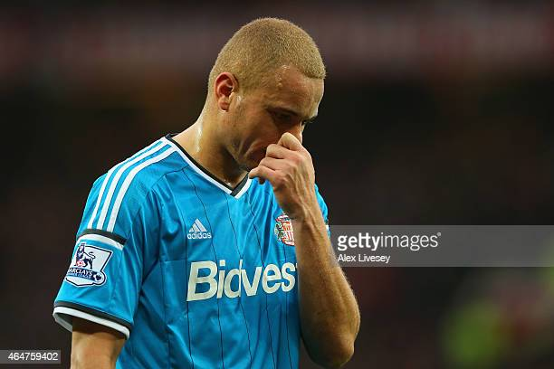 JWes Brown of Sunderland is sent off with a straight red during the Barclays Premier League match between Manchester United and Sunderland at Old...
